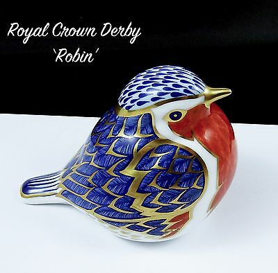 Royal Crown Derby Paperweight Robin 1st Quality Gold Stopper 1993