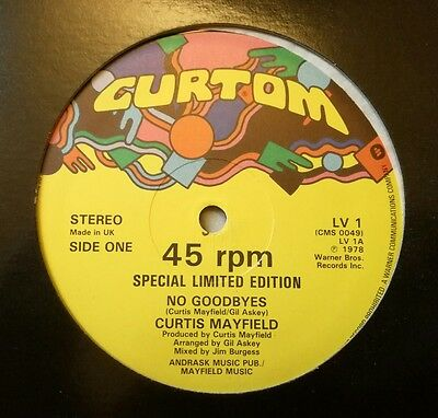 """Curtis Mayfield - No Goodbyes/party, Party 12"""" Lv1 Curtom 1978 Vg+!"""