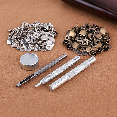 50 Poppers + 4 Punch Die Tool Set Snap Fastener Press Sewing Leather Craft 15mm