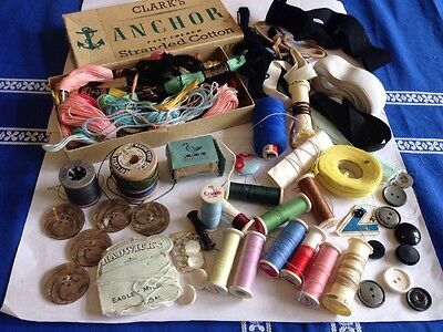 Vintage Sewing Anchor Threads Box + Coates Etc Reels Buttons Etc