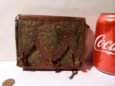 Antique Native American Indian Leather Embroidered Purse