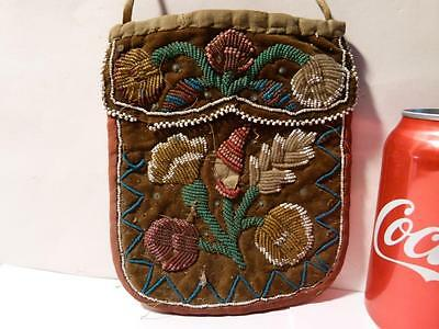 Antique Victorian Native American Indian Glass Bead Purse Flowers a/f