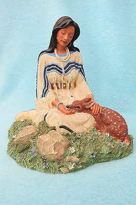 Beautiful Hamilton Princess Of The Plains Wild Flower Figure With Fawn