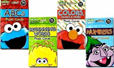 SET (4) Sesame Street Flash Cards Letters Numbers Alphabet Colors Shapes