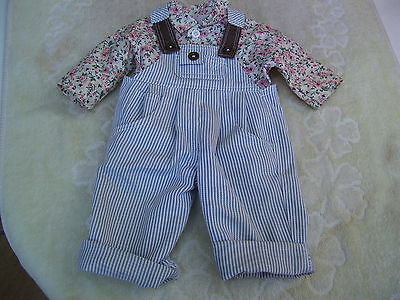 Alte Puppenkleidung Striped Jumper Blouse Outfit vintage Doll clothes 45 cm Girl