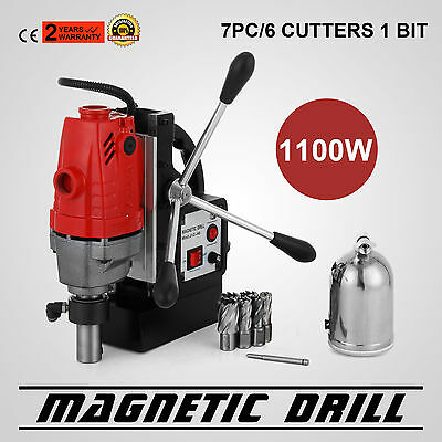 "MD40 Magnetic Drill Press 7PC 1"" HSS Cutter Set 550 RPM Cuts Tapping Switchable"