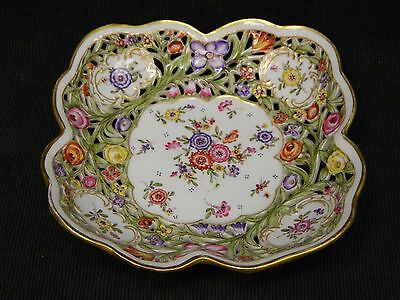 Antique Von Schierholz Porcelain Hand Painted Gilded Reticulated Bowl Flowers