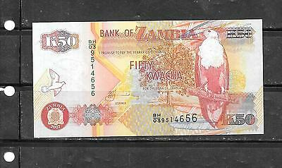 ZAMBIA #37f 2007 UNCIRCULATED 50 KWACHA BANKNOTE PAPER MONEY CURRENCY BILL NOTE