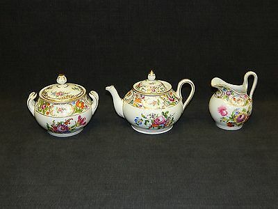 Early Hand Painted & Gilded Porcelain Dresden 3 Piece Tea Set