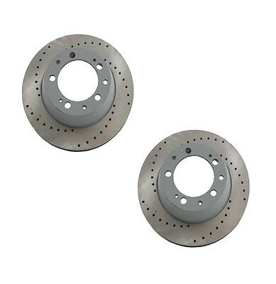 Pair Set of 2 Rear Sebro Drilled Disc Brake Rotors for Porsche Boxster Cayman
