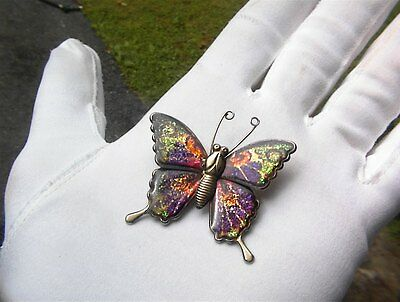 Beautiful Vintage Multi Color Glitter Butterfly Signed Gold Tone Brooch Pin #m52