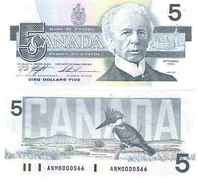 Canada 1986 Five 5 Dollars UNC 3 dig serial numbers Knight Thiessen Your Choice
