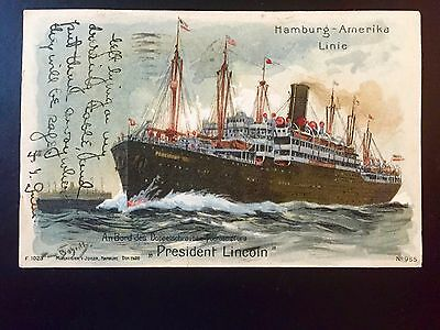 Ship postcard Hamburg Amerika Line President Lincoln sunk WWI NY cancel 1909