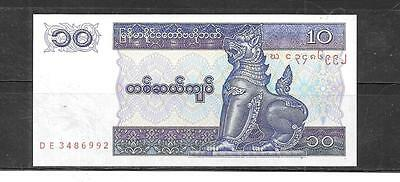 MYANMAR #71b 1997 UNCIRCULATED 10 KYATS PAPER MONEY BANKNOTE NOTE CURRENCY