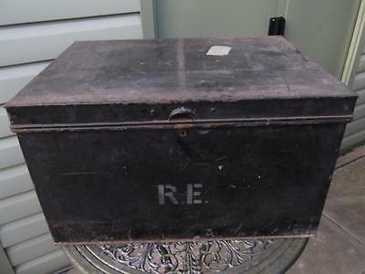 Large Vintage Metal Deed Box Storage Tin Chest #18 Initialled R E