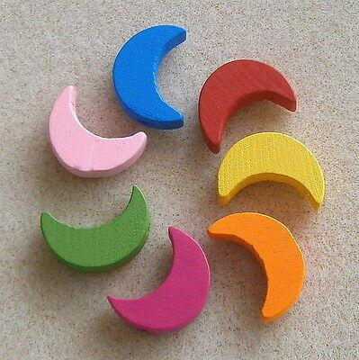 30 Wooden Crescent Moon Beads ~ 20mm ~ Lead Free ~ Little Crafty Beaders