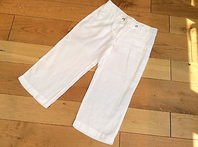 M&S- White 100% Linen Cropped Floaty Trousers size 8