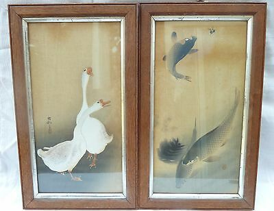 Pair of Antique Japanese Woodblocks Gouache Watercolour on Silk NO RESERVE