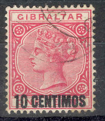 GIBRALTAR.1889, 10c on 1d Rose. Fine Circular Cancel. SEE ITEM SPECIFICS BELOW