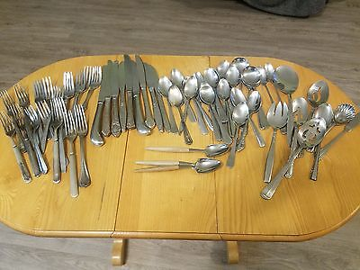 Lot 70 Vtg Silverware Flatware Crafts Jewelry Forks Knives Spoons Serving pieces