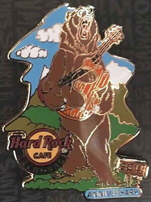 """Hard Rock Cafe ANCHORAGE 2017 3rd Anniversary PIN Bear Holding """"3"""" Guitar LE 300"""