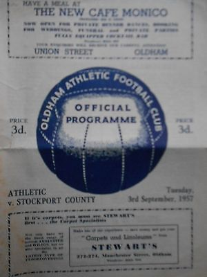 OLDHAM ATHLETIC v STOCKPORT COUNTY ,3 September 1957