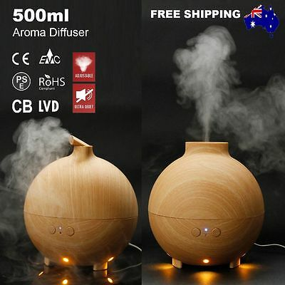 500ML Essential Oil Aroma Diffuser Ultrasonic Humidifier Mist Purifier LED Light