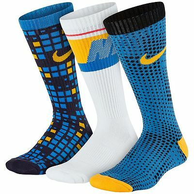 New Boys Nike 3-Pack Graphic Crew Socks Soft Cushioned Fits Shoe Size 3Y to 5Y