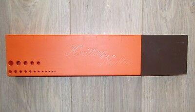 Vintage Knitting Needle Case/box,orange/brown  Hard Plastic + 8 Pairs Needles Gc