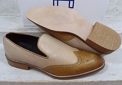 NEW Hardy Womens Naia Bone Honey Wingtip Leather Slip On Loafers Shoes sz 9.5 M