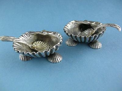 pr Sterling TIFFANY & CO Salt Cellars Dishes w/ Spoons Narragansett Shell shape