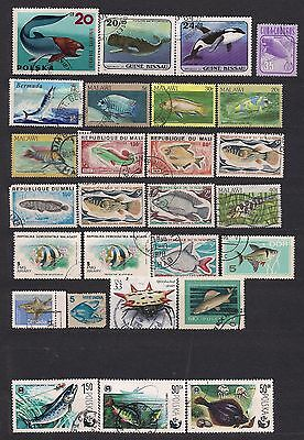 Fish & reptiles lot of 62 stamps