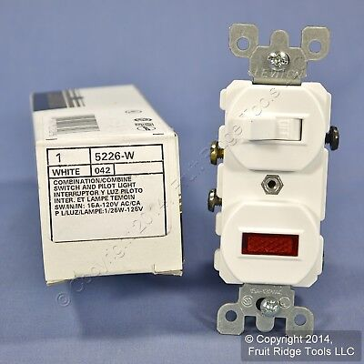 Leviton White Commercial Toggle Wall Switch w/Pilot Light 15A 5226-W-042