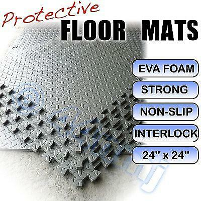 12mm Anti Fatigue Garage Workshop Flooring Mats LIGHT GREY 16 Sq Ft