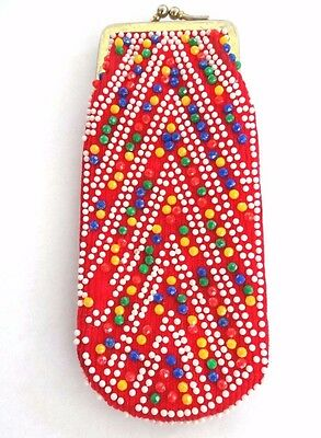 """60's 70's vintage retro red  beaded  glasses case spectacles length 6.5"""""""
