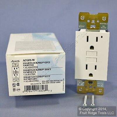 New Leviton Acenti White Alabaster GFCI GFI Receptacle Outlet 5-15R 15A ACGF1-W