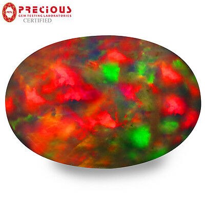2.14 ct PGTL Certified  Oval Cabochon (13 x 9 mm) Flashing Multicolor Black Opal