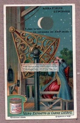 1600s Lunar Eclipse Observed  Moon Astronomy c1915 Trade Ad Card