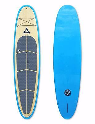 "Triple X Epoxy 10'0"" Stand Up Paddle Board/SUP/Bamboo/Blue Rails"