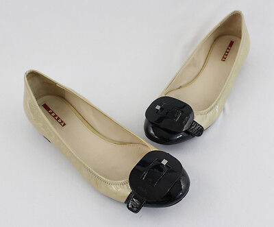 Prada Metallic Beige Black Cap Toe Patent Leather Ballet Flat Shoe Size 38.5 8.5