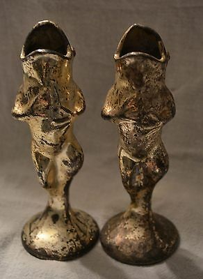 PAIR WB Mfg Co Antique Silverplate Candleholders Frog Candlestick Holders
