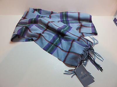 World Peace Tartan 100% Deluxe Cashmere Scarf - Blue - NEW with Tags