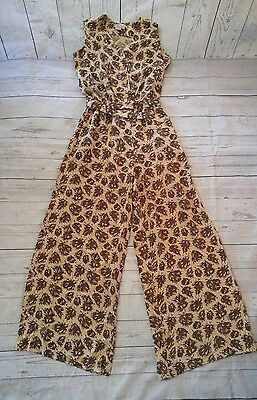 VTG 80s 90s Wide Leg Belted Palazzo Silk Leaf Print Catsuit Jumpsuit One Piece 8
