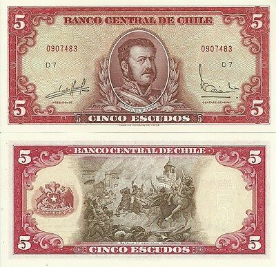 J-13-4, Chile, 5 Escudos, Nd (1964), P-138, Uncirculated