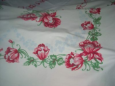 Vintage Wilendur(?) 1950s Tablecloth Thick cotton Roses Ribbons