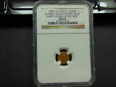 1909 1/2 DWT Alaska-Yukon-Pacific Expo Hart's Coins of the West NGC MS-63