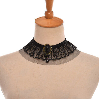 Steampunk Lace Collar Choker Victorian Vintage Gothic Black Lace Collar