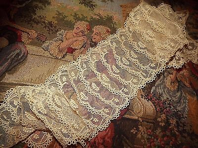 "ANTIQUE / VINTAGE Net Tulle LACE Jabot Collar trim 42"" x 4.5"" Embroidered Ecru"