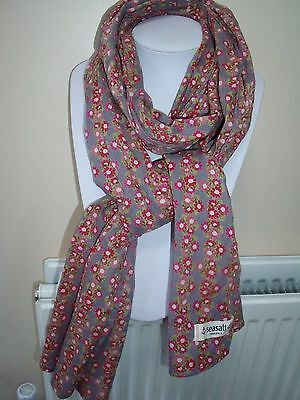 Long,  pure cotton Seasalt scarf with dainty floral print in red, pink and gold