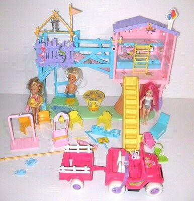Barbie KELLY CLUBHOUSE TREE HOUSE w/ Power Wheels Vehicle, Doll, Accessory LOT